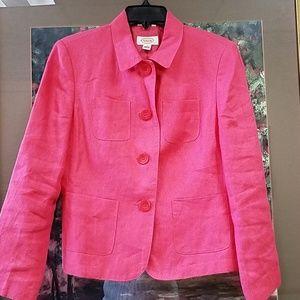 Talbots hot pink linen blazer